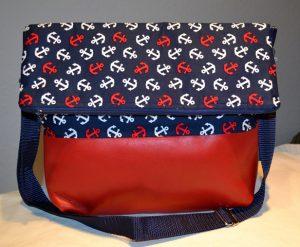 Ankertasche mit Leder-rot-blau